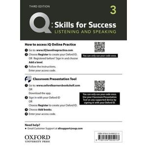Q Skills for Success 3 Listening & Speaking Teacher´s Access Card, 3rd